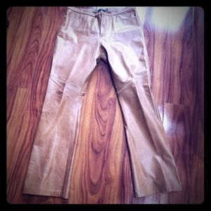 Gab gold genuine leather  boot cut pants
